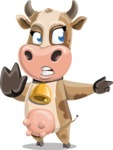 Young Cow Cartoon Vector Character AKA Colleen the Gentle Cow - Direct Attention 2
