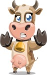 Young Cow Cartoon Vector Character AKA Colleen the Gentle Cow - Stop