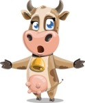 Young Cow Cartoon Vector Character AKA Colleen the Gentle Cow - Stunned