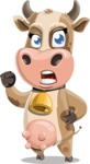 Young Cow Cartoon Vector Character AKA Colleen the Gentle Cow - Angry