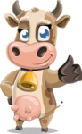 Young Cow Cartoon Vector Character AKA Colleen the Gentle Cow - Thumbs Up