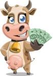 Young Cow Cartoon Vector Character AKA Colleen the Gentle Cow - Show me the Money