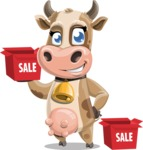 Young Cow Cartoon Vector Character AKA Colleen the Gentle Cow - Sale