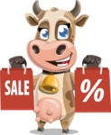Young Cow Cartoon Vector Character AKA Colleen the Gentle Cow - Sale 2
