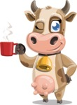 Young Cow Cartoon Vector Character AKA Colleen the Gentle Cow - Coffee