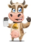 Young Cow Cartoon Vector Character AKA Colleen the Gentle Cow - Calculator