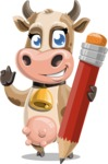 Young Cow Cartoon Vector Character AKA Colleen the Gentle Cow - Pencil
