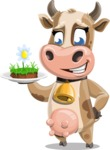 Young Cow Cartoon Vector Character AKA Colleen the Gentle Cow - Meat