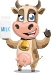 Young Cow Cartoon Vector Character AKA Colleen the Gentle Cow - Milk 2