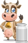 Young Cow Cartoon Vector Character AKA Colleen the Gentle Cow - Milk 3