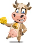 Young Cow Cartoon Vector Character AKA Colleen the Gentle Cow - Cheese