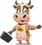Young Cow Cartoon Vector Character AKA Colleen the Gentle Cow - Briefcase 1