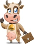 Young Cow Cartoon Vector Character AKA Colleen the Gentle Cow - Briefcase 2