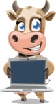 Young Cow Cartoon Vector Character AKA Colleen the Gentle Cow - Laptop 2
