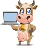 Young Cow Cartoon Vector Character AKA Colleen the Gentle Cow - Laptop 3