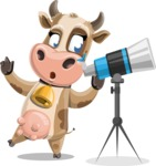 Young Cow Cartoon Vector Character AKA Colleen the Gentle Cow - Telescope