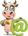 Young Cow Cartoon Vector Character AKA Colleen the Gentle Cow - Email