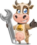 Young Cow Cartoon Vector Character AKA Colleen the Gentle Cow - Repair