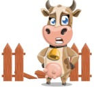 Young Cow Cartoon Vector Character AKA Colleen the Gentle Cow - Broken Fence