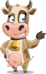 Young Cow Cartoon Vector Character AKA Colleen the Gentle Cow - Point
