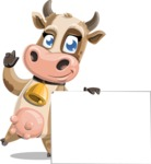 Young Cow Cartoon Vector Character AKA Colleen the Gentle Cow - Sign 7