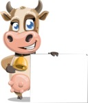 Young Cow Cartoon Vector Character AKA Colleen the Gentle Cow - Sign 8