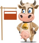Young Cow Cartoon Vector Character AKA Colleen the Gentle Cow - Sign 9