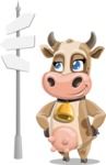 Young Cow Cartoon Vector Character AKA Colleen the Gentle Cow - Crossroad