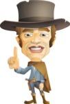Cowboy Man Cartoon Vector Character AKA Mr. Western - Attention