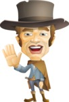 Cowboy Man Cartoon Vector Character AKA Mr. Western - Hello
