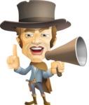 Cowboy Man Cartoon Vector Character AKA Mr. Western - Loudspeaker