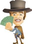 Cowboy Man Cartoon Vector Character AKA Mr. Western - Show me the money