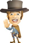 Cowboy Man Cartoon Vector Character AKA Mr. Western - Wave