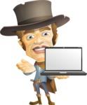 Cowboy Man Cartoon Vector Character AKA Mr. Western - Laptop 2