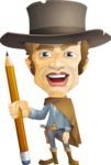 Cowboy Man Cartoon Vector Character AKA Mr. Western - Pencil