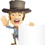 Cowboy Man Cartoon Vector Character AKA Mr. Western - Sign 7