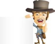 Cowboy Man Cartoon Vector Character AKA Mr. Western - Sign 8