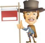 Cowboy Man Cartoon Vector Character AKA Mr. Western - Sign 9