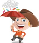 Little Cowboy Kid Cartoon Vector Character AKA Reynold the Lil' Cowboy - and Candies Raining Concept