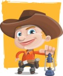 Little Cowboy Kid Cartoon Vector Character AKA Reynold the Lil' Cowboy - As Adventurer With Background
