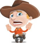 Little Cowboy Kid Cartoon Vector Character AKA Reynold the Lil' Cowboy - Being Afraid