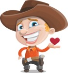 Little Cowboy Kid Cartoon Vector Character AKA Reynold the Lil' Cowboy - Being Cute with Love Heart