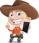Little Cowboy Kid Cartoon Vector Character AKA Reynold the Lil' Cowboy - Being Modern with a Tablet