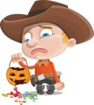 Little Cowboy Kid Cartoon Vector Character AKA Reynold the Lil' Cowboy - Being Sad With Broken Pumpkin Lantern