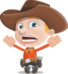 Little Cowboy Kid Cartoon Vector Character AKA Reynold the Lil' Cowboy - Being Scared