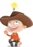 Little Cowboy Kid Cartoon Vector Character AKA Reynold the Lil' Cowboy - Being Smart with an Idea