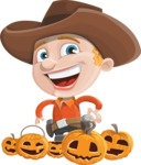 Little Cowboy Kid Cartoon Vector Character AKA Reynold the Lil' Cowboy - Celebrating Halloween With Pumpkins