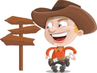 Little Cowboy Kid Cartoon Vector Character AKA Reynold the Lil' Cowboy - Choosing a Way To Go