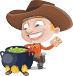 Little Cowboy Kid Cartoon Vector Character AKA Reynold the Lil' Cowboy - Cooking in a Caldron