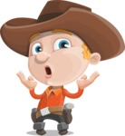Little Cowboy Kid Cartoon Vector Character AKA Reynold the Lil' Cowboy - Feeling Shocked